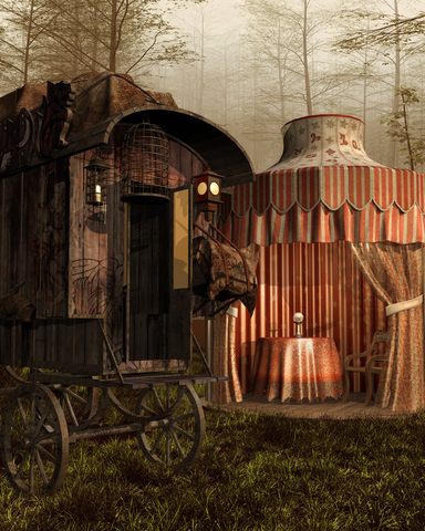 Gypsy tent and wagon