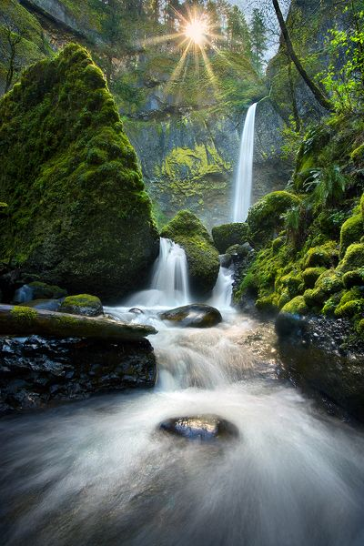 Sun bursts through the trees high above huge waterfalls and cascades in Oregon's Columbia Gorge.